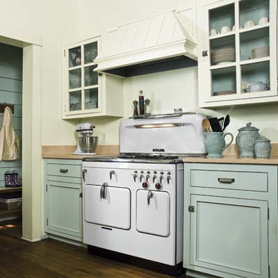 remodeled 1850s cottage kitchen with birch plywood cabinets