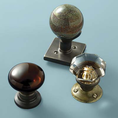 glass doorknobs in speckled globe, jewel toned and vintage classic style