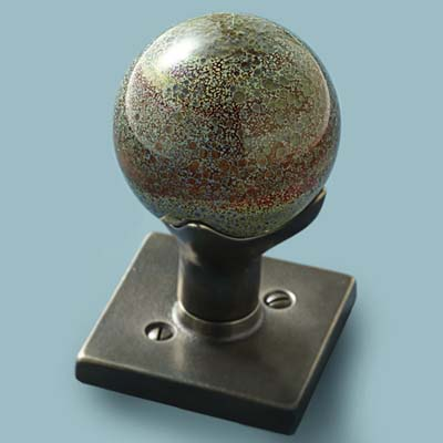 glass doorknob in speckled globe style