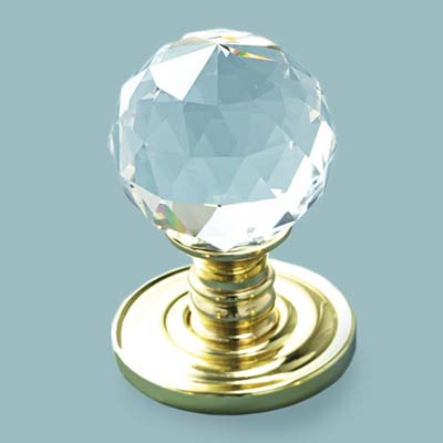glass doorknob in precision cut style