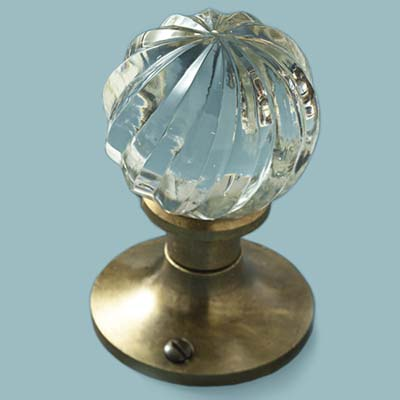 glass doorknob in cut-crystal style