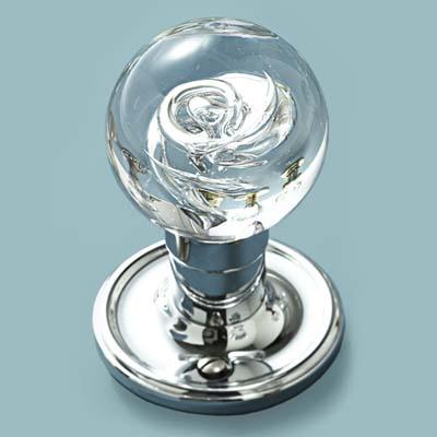 glass doorknob handblown with swirls