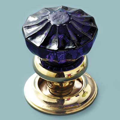 glass doorknob in fluted style
