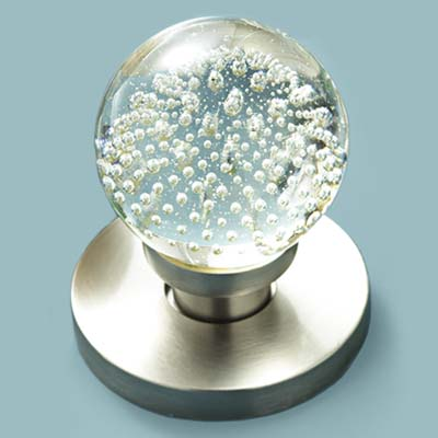 glass doorknob in controlled bubbles style