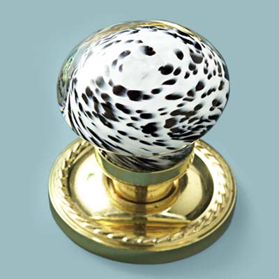 glass doorknob in handblown speckled style