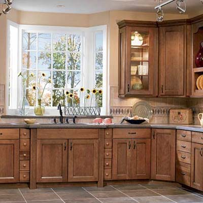 Stock cabinets from American Woodmark with mission-style doors
