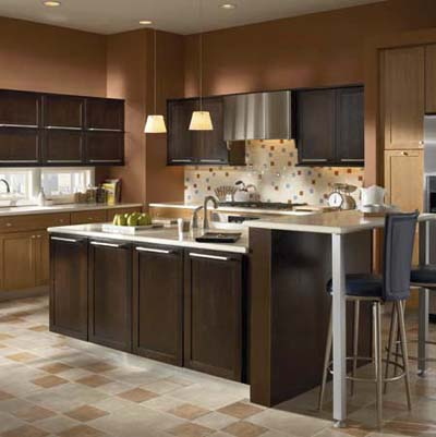 cabinets with two different finishes from KraftMaid
