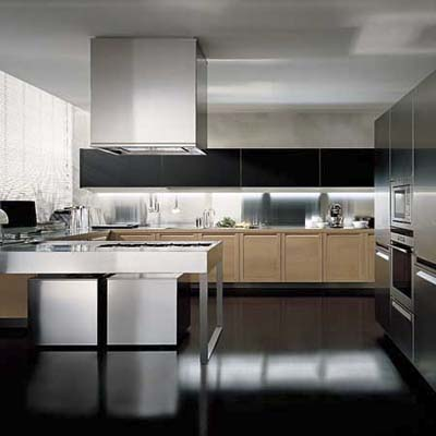 Poliform European cabinets in oak and stainless