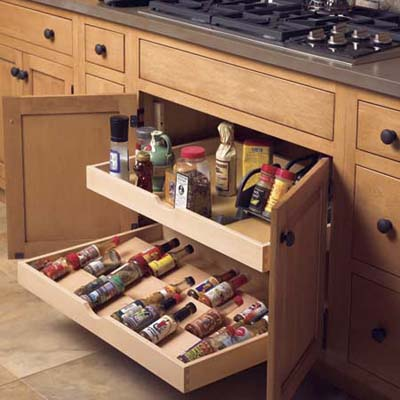 under cabinet drawers with diagonal racks