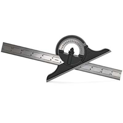 cast-iron protractor head with chromed-steel rule