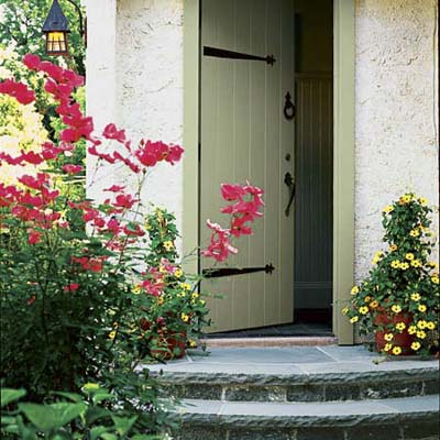 Front door has two small blue stone steps and shrubs on the side