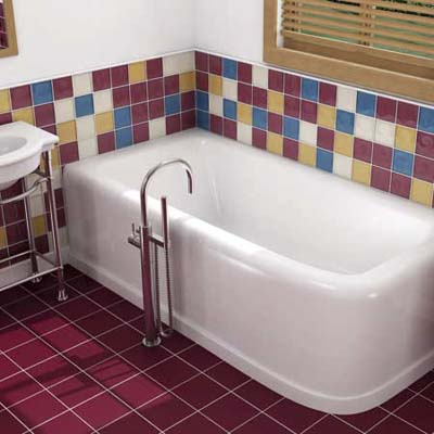 retro-style clawfoot tub in a vintage-looking bathroom
