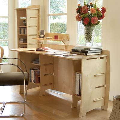 plywood, hardware-free desk