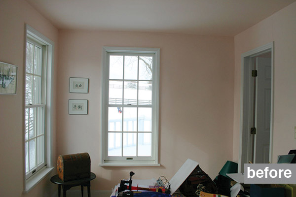 a before shot of a second-floor home office before remodeling it into a bathroom