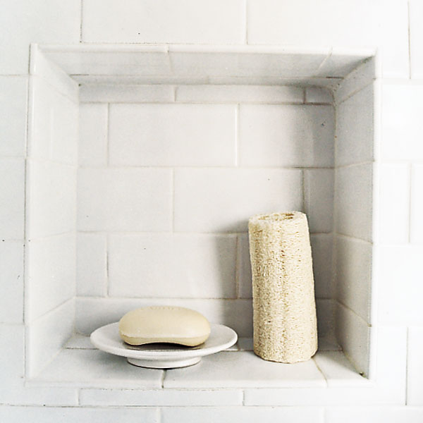 white subway bathroom tile adds to the style of an 1860s farmhouse