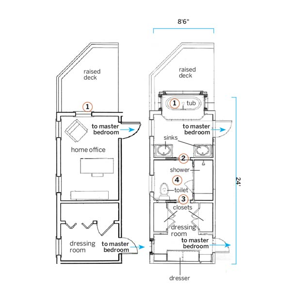 a floor plan of a small home office turned bathroom