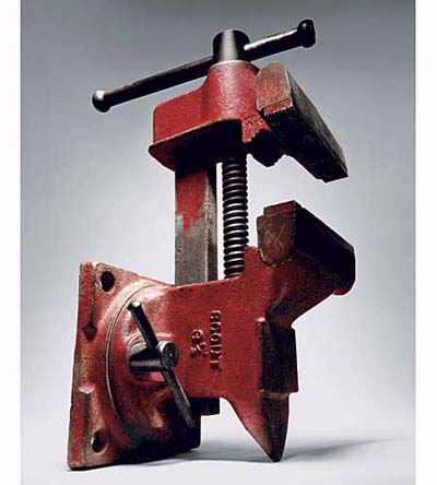 a steel-and-cast-iron bench vise