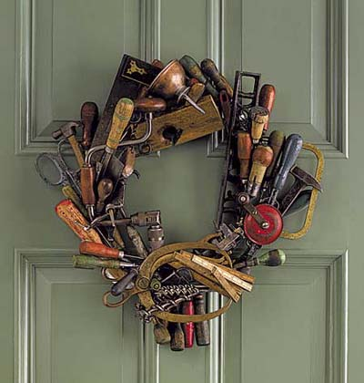 a wreath of old tools