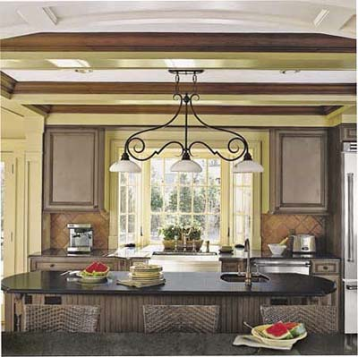 breakfast bar and island in Tudor Revival kitchen