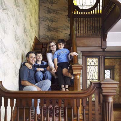 family portrait on stairs