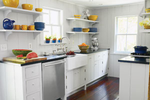 bright open galley kitchen from period u-shape layout