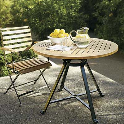 teak and iron small bistro-style patio furniture