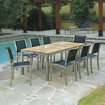 teak, PVC-coated polyester and stainless steel patio furniture set