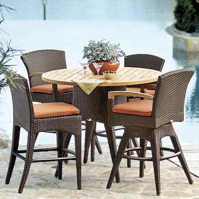 teak-topped table with high faux-wicker stools