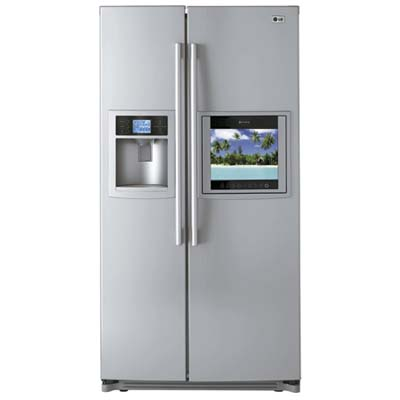 lg side by side fridge with hdtv