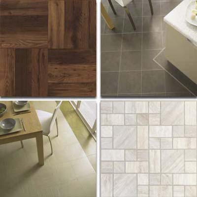 vinyl tiles: faux wood tile; dark gray tiles on kitchen floor; ivory linear tiles on kitchen floor; mosaic beige blend tiles