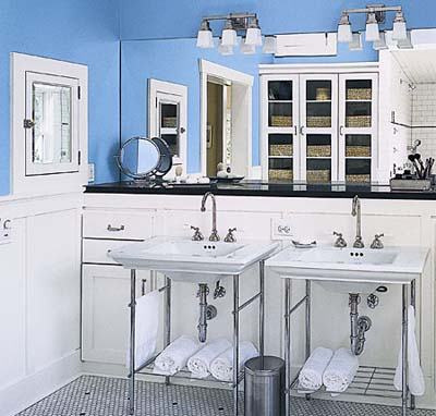 Double sinks and built-in in shared bathroom