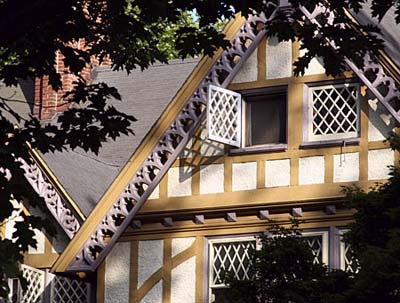 Exterior paint on a half-timbered house