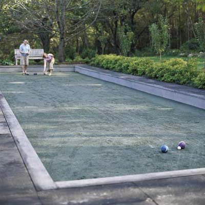 playing bocce on a bocce court