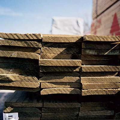 Lumber stacked