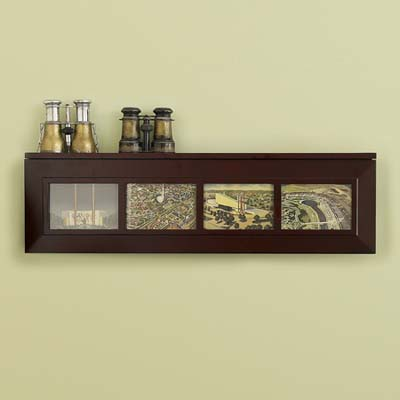 collections, display case, photos, binoculars, frames