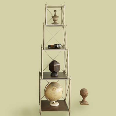collections, tiers, shelving, newel posts, binoculars, globe, shelving