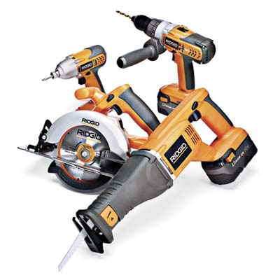 Ridgid's four-piece kit with variable-speed saw, hammer drill, circular saw, and impact driver