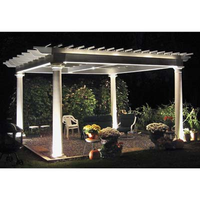 pergola lit up at night