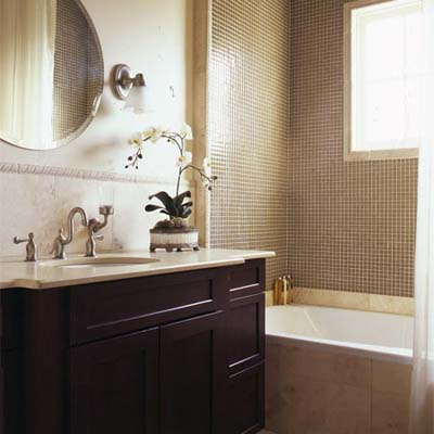 new bath in new orleans house with wood vanity