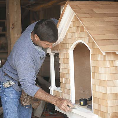 crftsman doghouse gets prepped for paint job