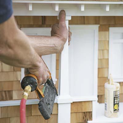 porch posts on craftsman doghouse