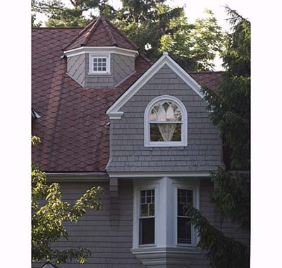Shingle-style, six-paned square window