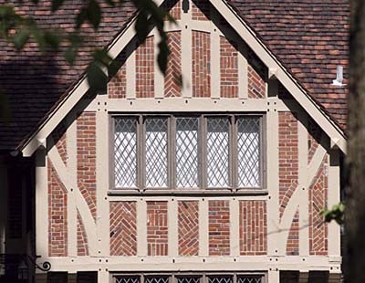 wood-framed casement windows
