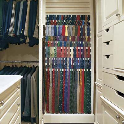 tie rack in dressing closet remodel