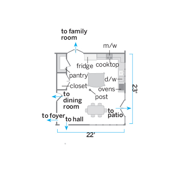floor plan illustration of kitchen before remodel