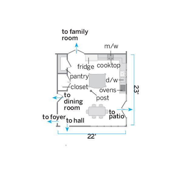 floor plan illustration of kitchen before remodel
