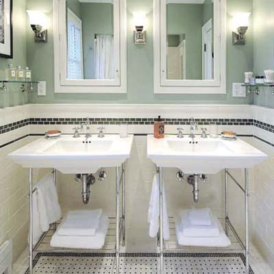 vintage-looking bath with pedestal sinks