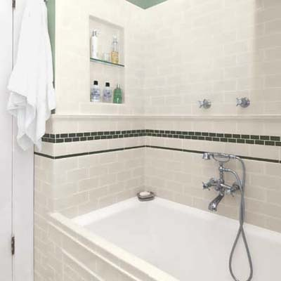 Bathtub with subway tile surround