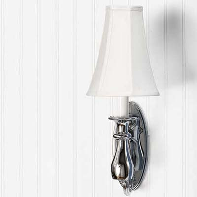 light, Circe polished chrome sconce, silk shade