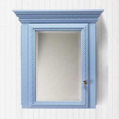 blue wood vintage-style medicine cabinet